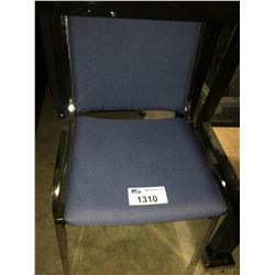 5 BLUE MOBILE OFFICE CHAIRS & BLUE STACKING CHAIR