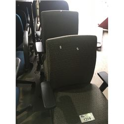 4 ASSORTED MOBILE OFFICE CHAIRS, 2 BLACK CLIENT CHAIRS & MOBILE UNIFORM RACK