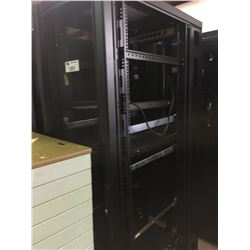 BLACK METAL MOBILE COMMERCIAL SERVER CABINET