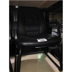 BLACK LEATHER MID BACK CLIENT CHAIR