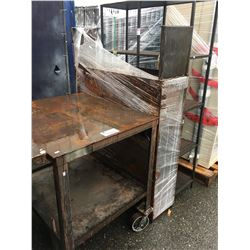 HEAVY DUTY METAL MOBILE WORK TABLE & 2 METAL SHOP SHELFS