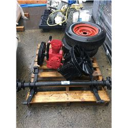 2 INDUSTRIAL COMPRESSOR HEADS & TRAILER AXEL WITH 2 TIRES