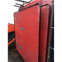 PAIR OF RED PLASTIC METAL FRAMED WELDING SCREENS