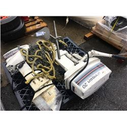 PALLET OF JOHNSON 20 HP OUTBOARD MOTOR, JOHNSON 9.9 HP OUTBOARD MOTOR & BOAT ANCHOR