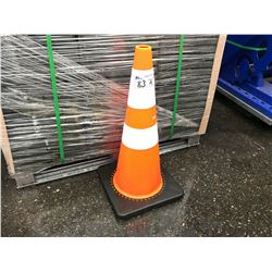 STACK OF 42 NEW ORANGE SAFETY PYLONS