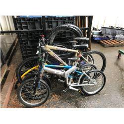 GREY FOLDING BIKE, BLUE BMX BIKE, GOLD TRIBAL MOUNTAN BIKE, DOUBLE BIKE ATTACHMENT & TIRES