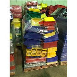 PALLET OF ASSORTED PLASTIC PARTS BINS