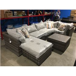 7 PCE OUTDOOR PATIO SOFA SECTIONAL WITH 6 THROW CUSHIONS