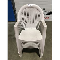 SET OF 6 GREY PLASTIC OUTDOOR PATIO CHAIRS