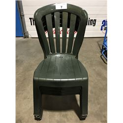 GROUP OF 4 GREEN PLASTIC OUTDOOR PATIO CHAIRS