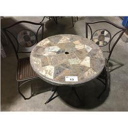 ROUND STONE MOSAIC OUTDOOR PATIO TABLE WITH 2 CHAIRS