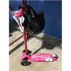 MAXI PINK 3 WHEEL CHILDS SCOOTER WITH RAZOR HELMET