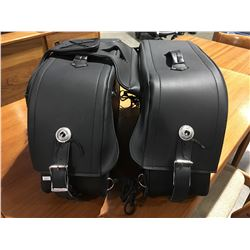 MILWAUKEE PERFORMANCE BLACK LEATHER MOTOR CYCLE SADDLE BAG SET