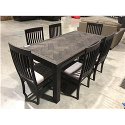 7 PCE DRIFT OAK DINING TABLE & 6 CHAIRS - 2 TONE GREY