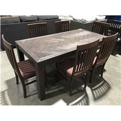 7 PCE DRIFT OAK DINING TABLE WITH 6 CHAIRS - 2 TONE UMBER