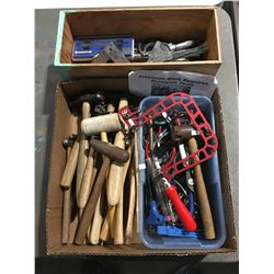 2 BOXES OF ASSORTED SPECIALTY TOOLS - PRECISION CUTTERS/PLIERS/SMALL HAMMERS ECT.