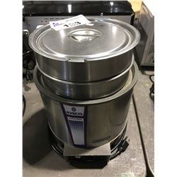 SYSCO HEAT N SERVICE ROUND SOUP WARMER WITH 2 POTS & 2 LIDS