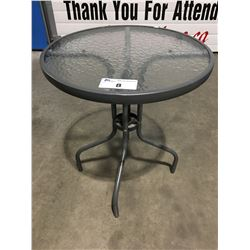ROUND GLASS TOP PATIO SIDE TABLE