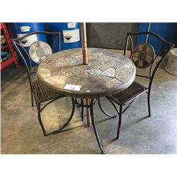 ROUND STONE MOSAIC OUTDOOR PATIO TABLE WITH 2 CHAIRS & UMBRELLA
