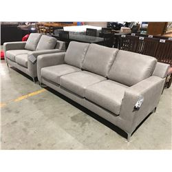 2PCE GREY MICROFIBER UPHOLSTERED SOFA & LOVE SEAT SET