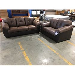 2 PCE BROWN LEATHER & MICROFIBER UPHOLSTERED SOFA & LOVE SEAT SET