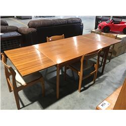 MID CENTURY DANISH MODERN TEAK DINING TABLE & 4 CHAIRS (TABLE STAMPED MADE IN DENMARK)
