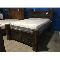 QUEEN SIZE POSTER BED (HEADBOARD, FOOTBOARD & RAILS)