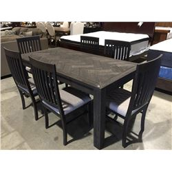 7 PCE DRIFT OAK DINING TABLE & 6 CHAIRS 2 TONE GREY