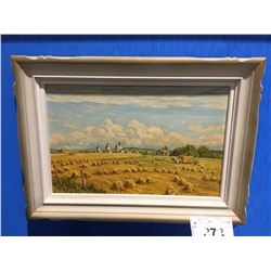 "FRAMED ORIGINAL OIL ON BOARD ""HARVEST AT GLENAVON"" BY CELEBRATED CANADIAN ARTIST ERNEST LUTHI"