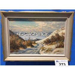 "FRAMED ORIGINAL OIL ON BOARD ""THE OLD SOUTH SIOUX HILL ROAD"" BY CELEBRATED CANADIAN ARTIST  ERNEST"