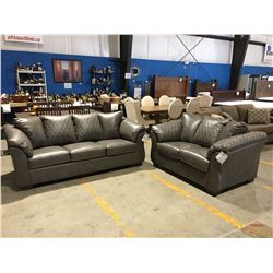 2 PCE GREY LEATHER UPHOLSTERED SOFA & LOVESEAT SET