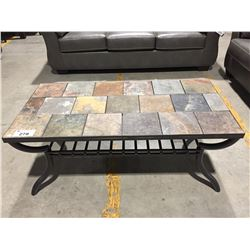 STONE TILE TOP & METAL COFFEE TABLE