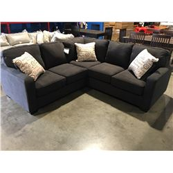 2 PCE CHARCOAL GREY SECTIONAL SOFA WITH 3 THROW CUSHIONS