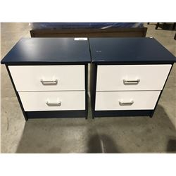 PAIR OF BLUE & WHITE 2 DRAWER NIGHT TABLES