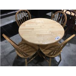 SINGLE PEDESTAL ROUND DINING TABLE WITH 4 CHAIRS