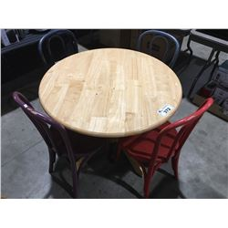 SINGLE PEDESTAL ROUND DINING TABLE WITH 4 MIS-MATCHED COLOURED CHAIRS