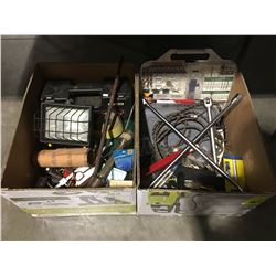 2 BOXES OF MISC. TOOLS & HARDWARE