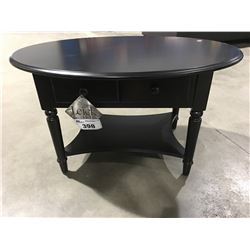 LEICK HOME SINGLE DRAWER  SMALL OVAL COFFEE TABLE