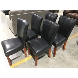 GROUP OF 5 BLACK LEATHER DINING ROOM SIDE CHAIRS