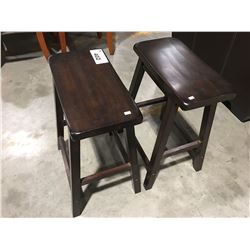 PAIR OF SMALL WOODEN STOOLS