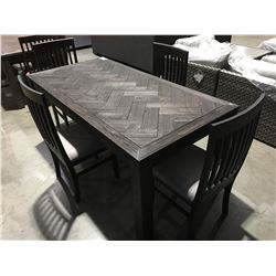 CONTEMPORARY 5 PCE DRIFT OAK 2 TONE GREY DINING TABLE WITH 4 CHAIRS