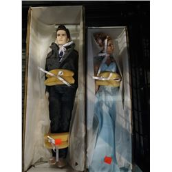 TWILIGHT'S EDWARD CULLEN AND SPIDERMAN'S MARY JANE TONNER PORCELAIN DOLLS