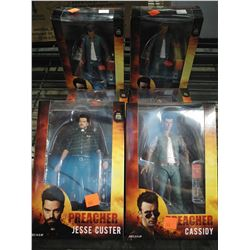 6 PREACHER ACTION FIGURES INCLUDING 4 CASSIDYS AND PAIR OF JESSE CUSTERS