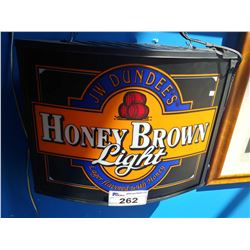 JW DUNDEE'S HONEY BROWN LIGHT LAGER FLAVOURED WITH HONEY LIGHT-UP BEER SIGN
