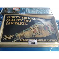 "MILLER ""PURITY YOU CAN SEE. QUALITY YOU CAN TASTE."" MADE THE AMERICAN WAY LIGHT-UP BEER SIGN"