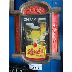 STROH'S BEER ON TAP LIGHT-UP BEER SIGN
