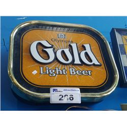 OLYMPIA GOLD LIGHT BEER LIGHT-UP BEER SIGN
