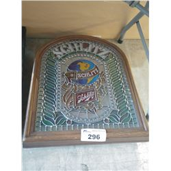 SCHLITZ STAINED GLASS WINDOW STYLE LIGHT-UP BEER SIGN