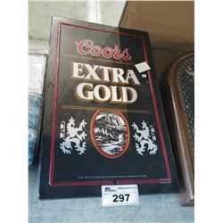 COORS EXTRA GOLD LIGHT-UP BEER SIGN