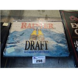 RAINIER DRAFT ICE LAGERED & COLD FILTERED LIGHT-UP BEER SIGN